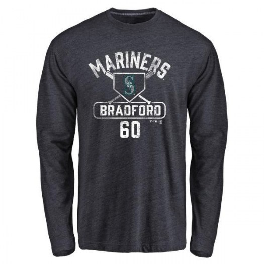 Chasen Bradford Seattle Mariners Youth Navy Base Runner Tri-Blend Long Sleeve T-Shirt -
