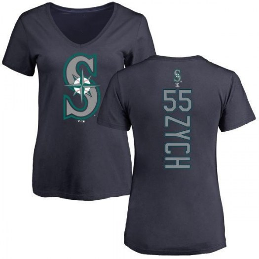 Tony Zych Seattle Mariners Women's Navy Backer Slim Fit T-Shirt -